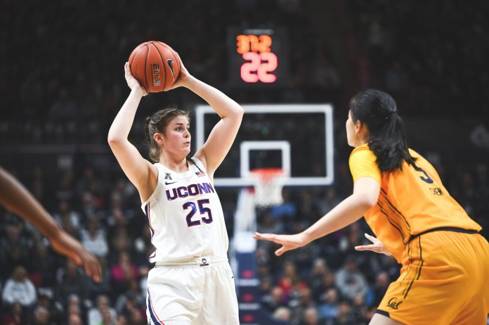 The Huskies play against the California Golden Bears on Nov. 11. On Nov. 24, the women's basketball team defeated the Ohio State Buckeyes 73-62.  Photo by Charlotte Lao/The Daily Campus