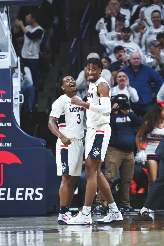 The UConn Men's Basketball team played against the Florida Gators on Nov. 17. UConn now gets a week-long reprieve, returning home to the XL Center on Dec. 1 to host Maine (2-3).  Photo by Charlotte Lao/The Daily Campus.