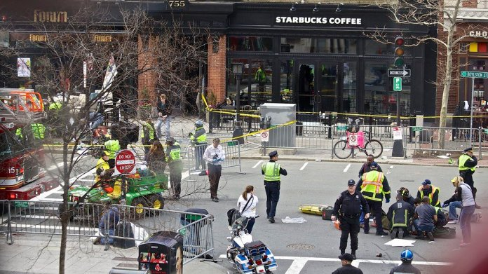 Tragedy struck again as five people were killed from two bombs set off near the finish line at the 117th annual Boston Marathon.  Photo in the    public domain