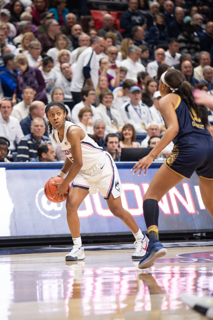 In this Monday, Dec. 9, 2019 photo, UConn was in control, beating the Fighting Irish 81-57. The Huskies came out on top again, defeating the DePaul Blue Demons 84-74 to improve to 9-0 on the season.  Photo by Charlotte Lao/The Daily Campus