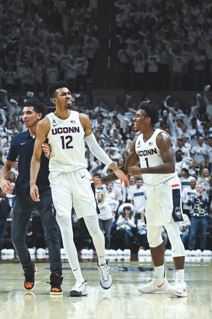 In this file photo, the UConn Men's Basketball team played against the Florida Gators on Nov. 17, 2019. UConn begins a two-game homestand on Wednesday, welcoming Tulane to Gampel Pavilion.  Photo by Charlotte Lao / The Daily Campus