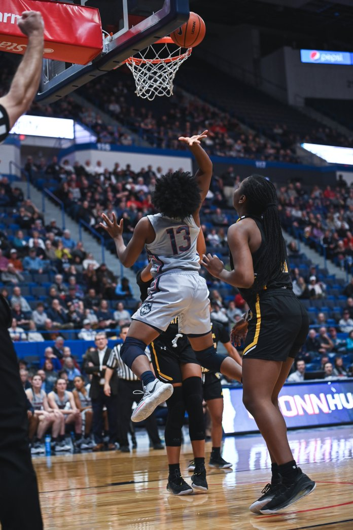 Christyn Williams led the way for No. 1 UConn (12-0) with 21 points on 9-of-16 shooting, also adding three rebounds, two assists and a blocked shot.  Photo by Charlotte Lao/The Daily Campus