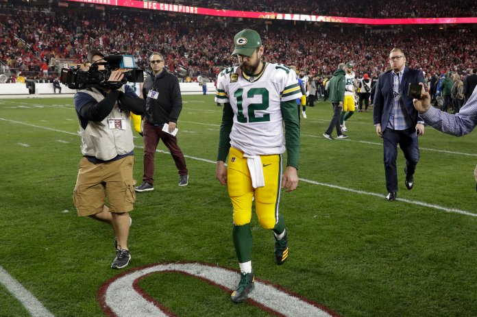 Aaron Rodgers lost in this weekend's NFC Championship against the 49ers. Brady, Brees and Rodgers all had disappointing playoff runs this year.  Photo from the Associated Press.