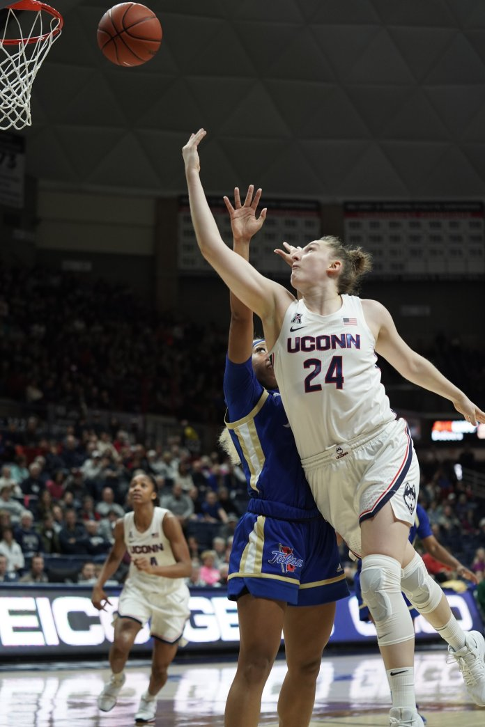 Anna Makurat scored a career-high 21 points in UConn's game against Tulsa this weekend. The Huskies won the game by a final score of 92-34.  Photo by Eric Wang/The Daily Campus.
