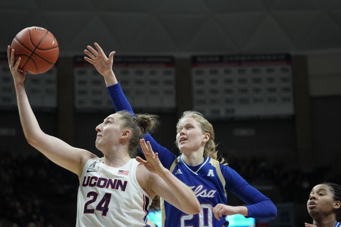 The sharp shooting was a welcome sight for Geno and the Huskies after Makurat missed her first 11 3-point attempts of her career.  Photo by Eric Wang/The Daily Campus.
