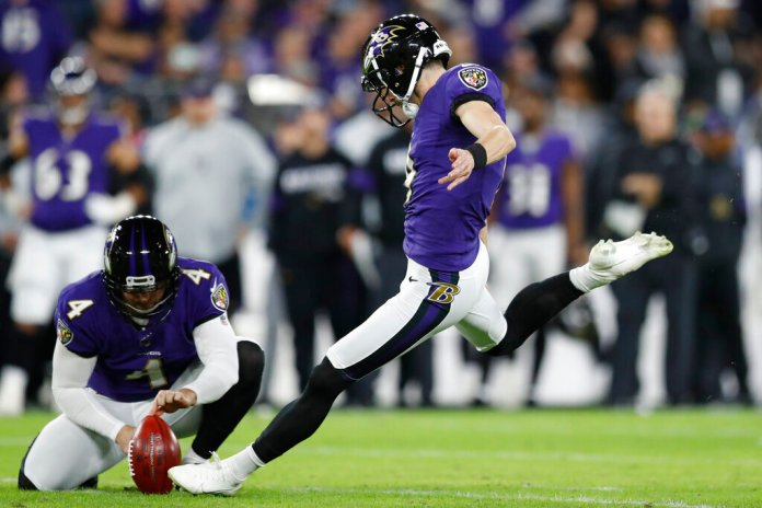 Baltimore Ravens kicker Justin Tucker (9) kicks a field goal against the Tennessee Titans during the first half an NFL divisional playoff football game, in Baltimore. Tucker will be the starting kicker for the AFC in the Pro Bowl this weekend.  Photo courtesy of Julio Cortez/AP Photo