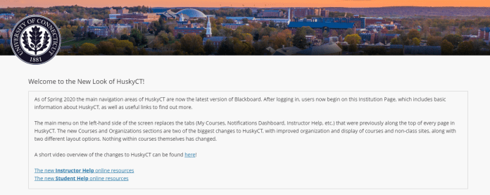 Husky CT has a new design this semester.  Screenshot of the new homepage.