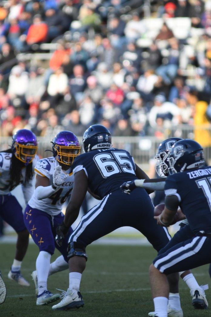The Huskies lost against ECU after a close game with a final score of 24-31. The team closes the season with a record of 2-10 overall.   Photo by Eric Wang/The Daily Campus