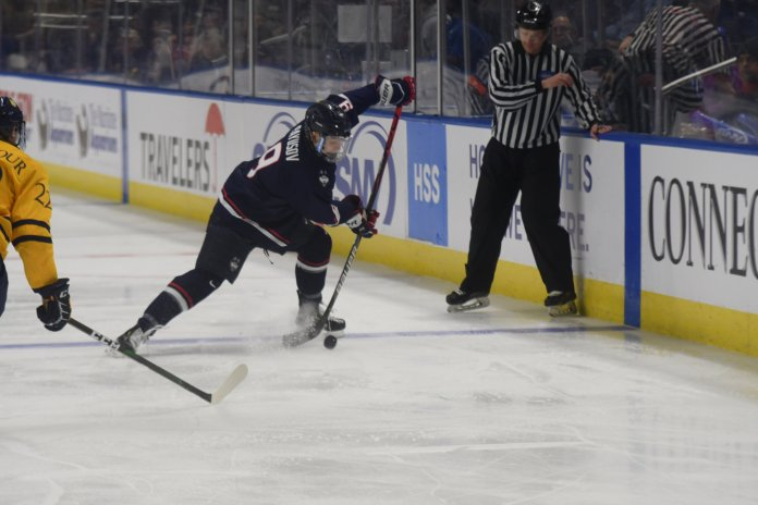 UConn's men's hockey competed in Connecticut Ice, the inaugural men's college hockey tournament in Connecticut. The team took home losses to Quinnipiac and Yale, finishing last in the tournament.   Photo by Mike Mavredakis/The Daily Campus