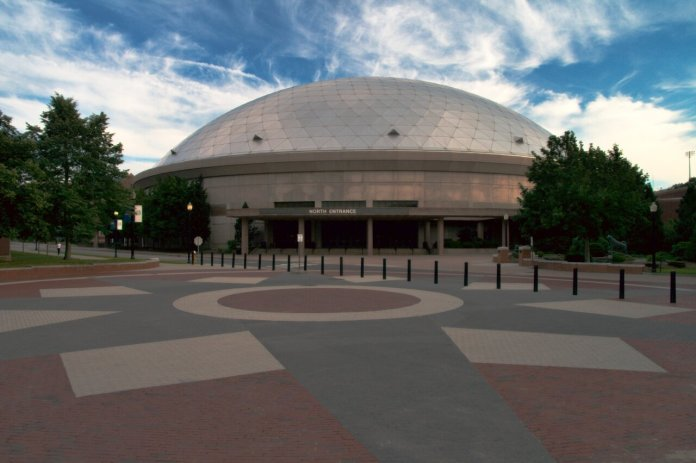Gampel Pavillion  by Matthias Rosenkranz.  Pictured is the building having the WiFi improvements added.
