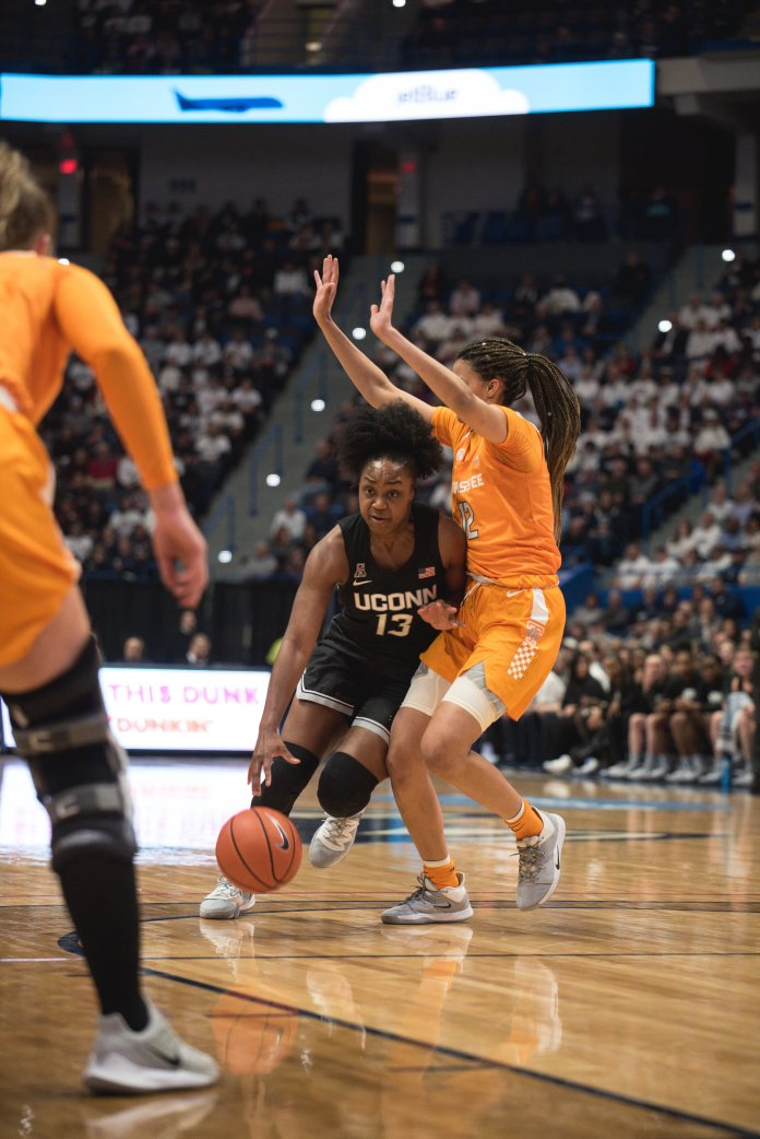 After a rough start in the first half, the UConn Women's Basketball team dominated the second half against Tennessee 60-45. Crystal Dangerfield led the Huskies with 14 points.    Photo by Charlotte Lao/The Daily Campus