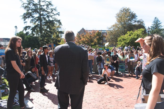 Tom Katsouleas recently announced that the construction of the new natural gas fueled supplemental utility plant was halted. But the issue of sustainability continues.  Photo by Charlotte Lao / The Daily Campus.