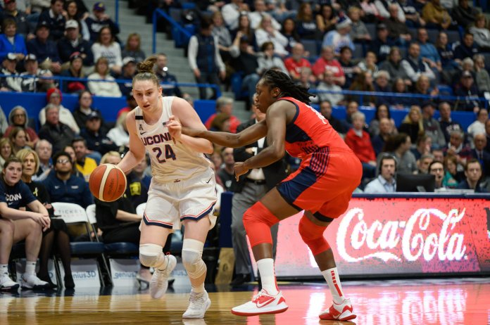 UConn entered halftime tied at 31, but the US National team took control in the second half, winning 79-64.  Photo by Eric Yang / The Daily Campus.