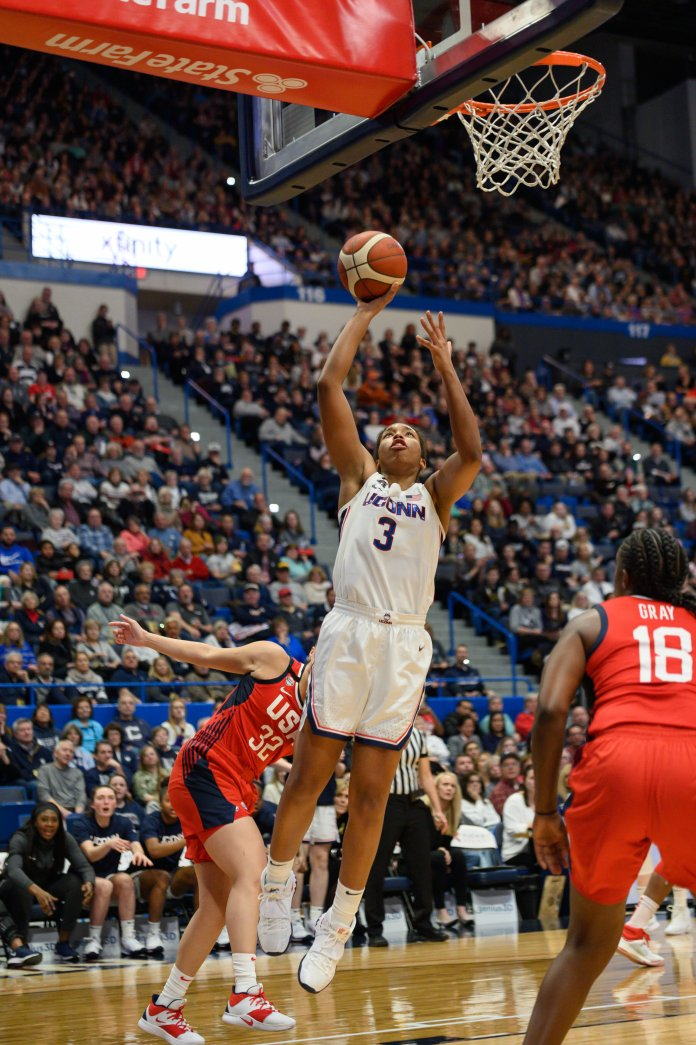 UConn's Megan Walker led all scorers in the Huskies matchup against team USA.  Photo by Eric Yang / The Daily Campus.