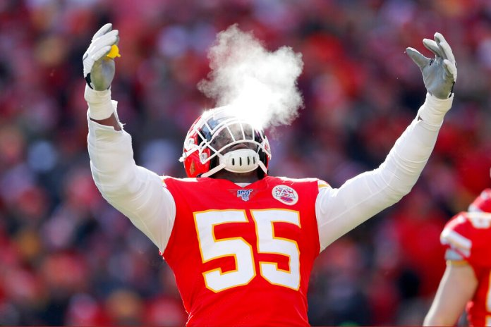 Kansas City Chiefs' Frank Clark reacts during the first half of the NFL AFC Championship football game against the Tennessee Titans last Sunday in Kansas City, MO. Clark gave his thoughts on what the late Kobe Bryant meant to him during his media availability before Sunday's Super Bowl.  Photo courtesy of Jeff Roberson/AP Photo