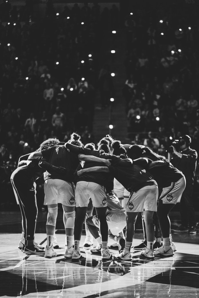 The UConn woman's basketball huddle up before a game versus Team USA. They lost 79-64 to the national team, which featured former Huskies Katie Lou Samuelson, Sue Bird, Breanna Stewart and Tina Charles.  Photo by Eric Yang, Assistant Video Editor/The Daily Campus