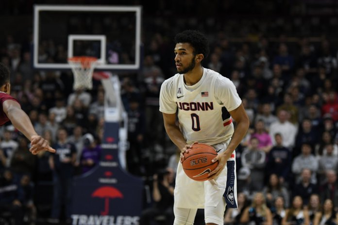 The UConn men's basketball team took home a win against Temple 78-63 at Gampel Pavilion in Storrs. Freshman point guard Jalen Gaffney got his first start in a UConn uniform.  Photo by Brandon Barzola, Grabs Photographer/The Daily Campus