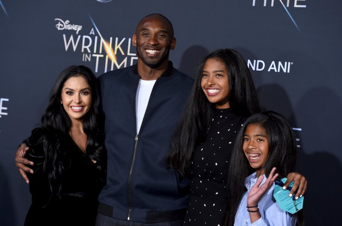 """FILE - This Feb. 26, 2018 file photo shows Vanessa Bryant, from left, Kobe Bryant, Natalia Bryant and Gianna Maria-Onore Bryant at the world premiere of """"A Wrinkle in Time"""" in Los Angeles. Bryant, a five-time NBA champion and a two-time Olympic gold medalist, died in a helicopter crash in California on Sunday, Jan. 26, 2020. He was 41. (Photo by Jordan Strauss/Invision/AP, File)"""
