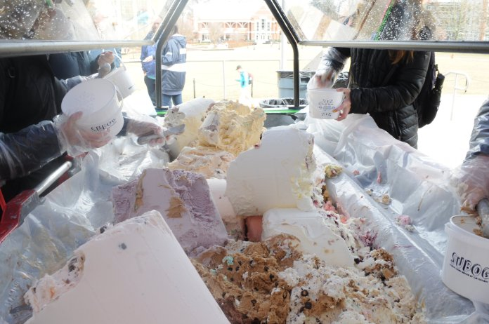 Students scoop ice cream at last year's SUBOG annual event, One Ton Sundae. This year's tradition will be held on Friday, Feb. 7 at 11 a.m. on the Student Union Terrace   Photo by Nicole Jain/The Daily Campus