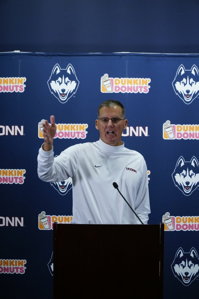 The Huskies lost to the Cougars 17-24 in Octover after two touchdowns by Matt Drayton and Art Thompkins. Head coach Randy Edsall spoke to the media Wednesday about his views on the transfer portal.  Photo by Eric Wang/The Daily Campus