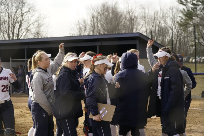 The Huskies lost to UMass after a ninth inning run, ending with a final score of 8-1. Their next home game is on 4/2 against UMass.   Photo by Eric Wang/The Daily Campus