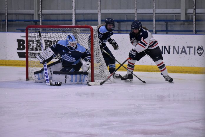 The Women's Hockey team defeated the Maine Black Bears 2-1 this past Friday at the Freitas Ice Forum, snapping a three-game losing streak while also snagging two Hockey East points. The Huskies would then go on the following day to beat Maine again, with the score 5-2.   Photo by Sofia Sawchuk/The Daily Campus