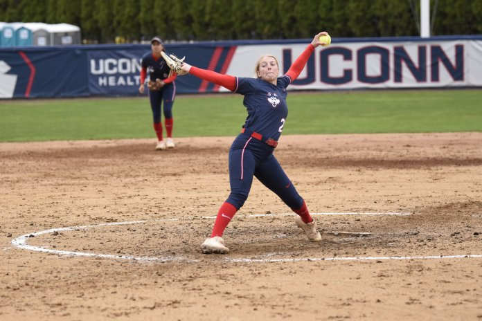 UConn softball went 3-2 this weekend with wins against Georgetown, Boston College and Florida Gulf Coast. It was a solid start to a season full of high hopes for the Huskies.  Photo by Brandon Barzola / The Daily Campus.