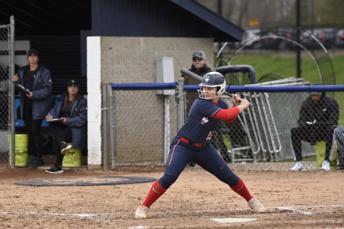 Although it came in a loss, UConn was able to score six runs in the final two innings to cut their loss to 9-6 against Deleware. The team showed real promise on both sides.  Photo by Brandon Barzola / The Daily Campus.