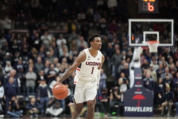 Cristian Vital scored 19 points in UConn's win against Cincinnati Sunday. He'll look to continue his solid play as the Huskies head to Texas to take on SMU in search of their third straight conference win.  Photo by Eric Wang / The Daily Campus.
