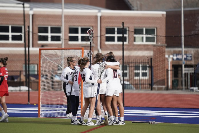The UConn women's lacrosse team started off its season with an explosive 19-12 victory at home on Wednesday. They were led by midfielder Sydney Watson, who had six goals in the victory.  Photo by Eric Wang/The Daily Campus