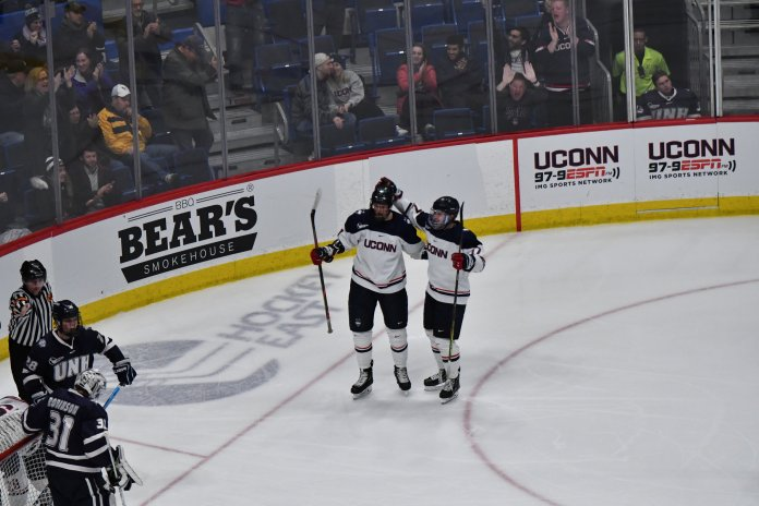 UConn beats UNH 7-4 in the Xl Center Saturday afternoon. Alexander Payusov and Jachym Kondelik each scored two goals, leading the Huskies to decisively win both games against the Wildcats.   Photo by Kevin Lindstrom/AP