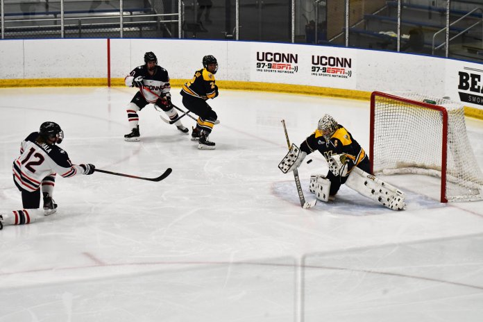 The Huskies lost their second game of the weekend against Merrimack but still won the season series 2-1. Their next match will come next weekend when they head to Massachusetts to face University.  Photo by Kevin Lindstrom/The Daily Campus.