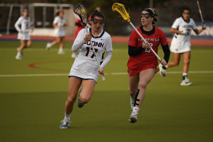 UConn lost 11-8 against the Dukes despite scoring the first two goals of the game. Their next game is against UMass Lowell next Friday.  Photo by Erin Knapp/The Daily Campus.
