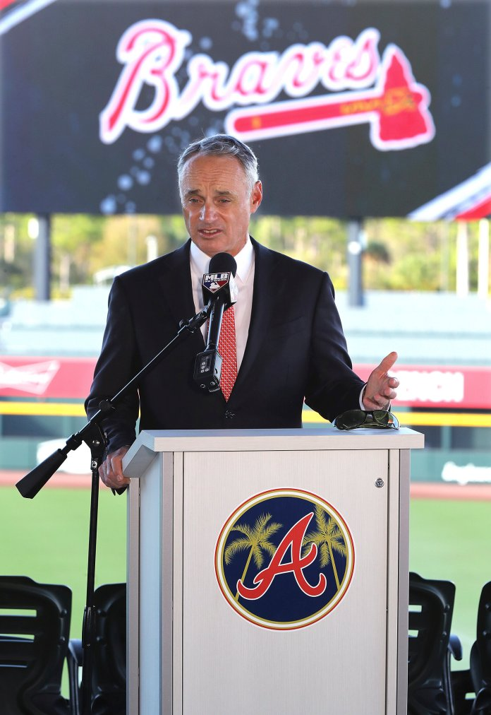 """After discovering the Houston Astros cheated their way to the World Series last season, Commissioner Rob Manfred was forced into action. In response, Manfred went to many measures to """"punish"""" the culprits.  Photo by Curtis Compton/AP."""