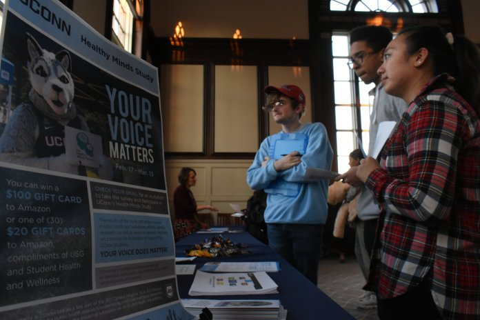 USG hosts a Mental Health Town Hall workshop in the Wilbur Cross Building Monday night. The goal was to encourage students to have a dialogue with UConn mental health service and to voice concerns.  Photo by Alex Leo/The Daily Campus