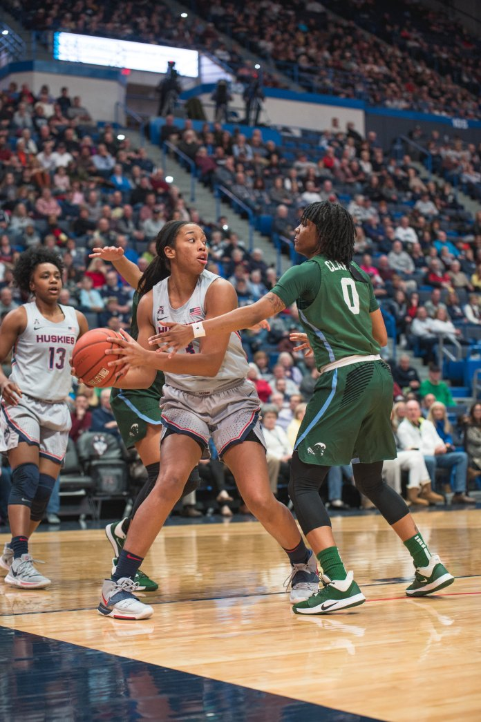 The UConn women's basketball team Tulane 74-31 at the XL Center on Wednesday night. Megan Walker had 18 points in the blowout.  Photo by Charlotte Lao/The Daily Campus