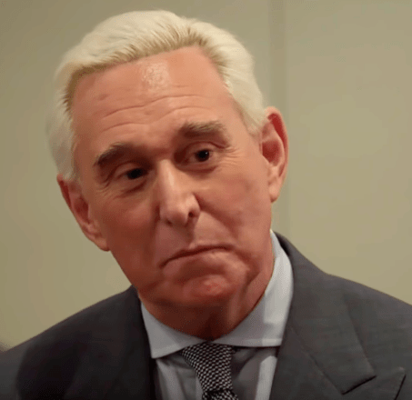 Roger Stone pictured here in February 2019, was indicted on charges of witness tampering and obstruction of justice in January 2019 by  the Circus on SHOWTIME.