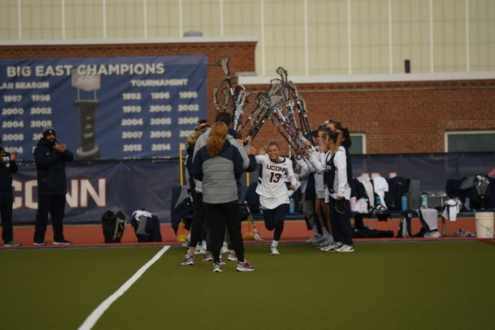 The Women's Lacrosse team defeated Fairfield University 19-12 in the season opener game. Their next game will be against James Madison University at the US Lacrosse Headquarters.  Photos by Erin Knapp/The Daily Campus