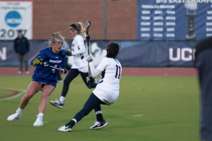 UConn women's lacrosse won both of their games this weekend, beating UMass Lowell Friday before earning the weekend sweep with a 21-8 win over UNH Sunday.  Photo by Avery Bikerman/The Daily Campus.