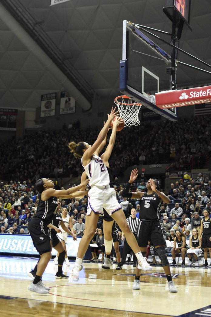UConn women's basketball won it's game against UCF 66-53 this weekend. Walker, Dangerfield and Williams contributed, but the offense runs much more efficiently with Olivia Nelson-Ododa on the floor.  Photo by Charlotte Lao/The Daily Campus.