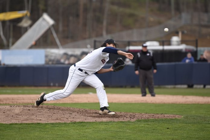 UConn baseball won one of their three games this weekend against the University of New Orleans. Their pitching was a bit inconsistent, letting the Privateers rack up the runs early and often.  Photo by Brandon Barzola/The Daily Campus.