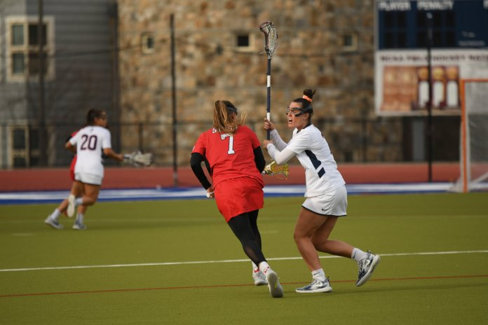 The 17-goal difference was the largest of the season for UConn. They will have a chance to keep their streak of wins at home alive next week against UMass.  Photo by Erin Knapp/The Daily Campus.