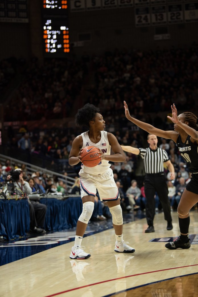 It was a team effort for the Huskies in their win over Houston. All five starters got into double digits, and all but one player scored for UConn.  Photo by Charlotte Lao/The Daily Campus.