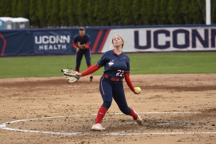 UConn's pitching also came up big one the weekend, with Marybeth Olson, Meghan O'Neil and Katie Koshes each chipping in during their respective games.  Photo by Brandon Barzola/The Daily Campus.
