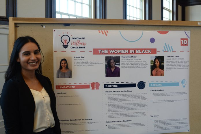 Proposals shown at the first round were creative and diverse. Many groups identified the need to create a community of wellness, in lieu of individualized solutions.  Photo courtesy of Wesley Nyambi / The Daily Campus
