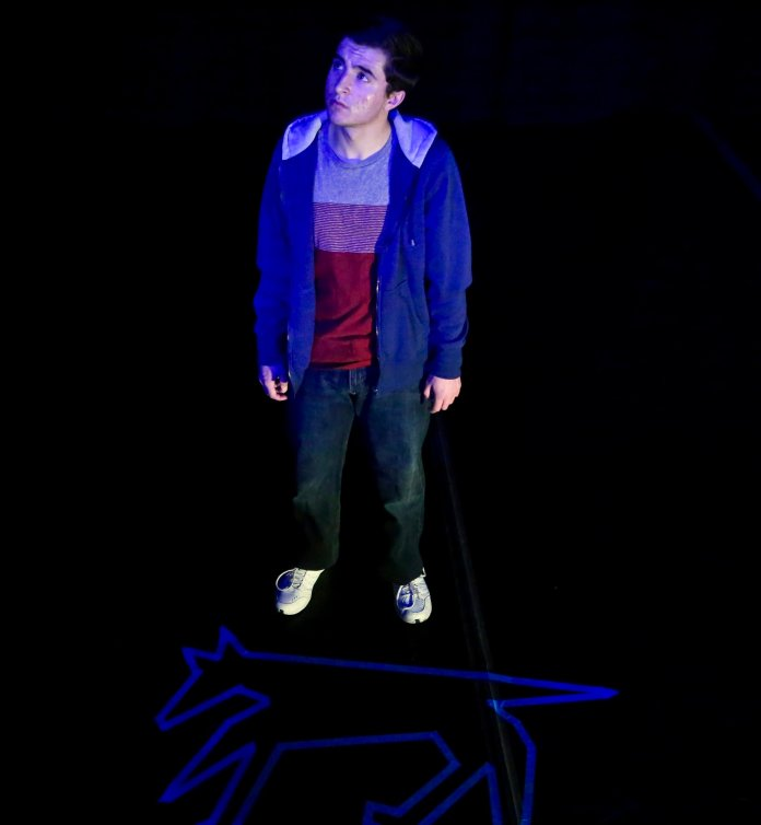 At first, it was fairly jarring to see a college student in the role of a 15-year-old boy, yet Nowakowski's performance was so strong that the actor soon fell away completely, and all I could see was Christopher.  Photo courtesy of Connecticut Repertory Theatre