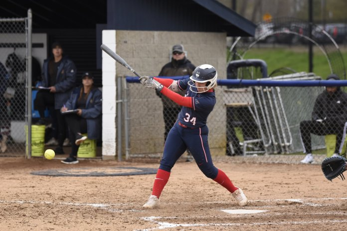 UConn Softball takes home a 2-1 win last year against Quinnipiac University. McDaniel drew a key walk prior to a two-run single by Carli Cutler in the second inning.  Photo by Brandon Barzola/The Daily Campus