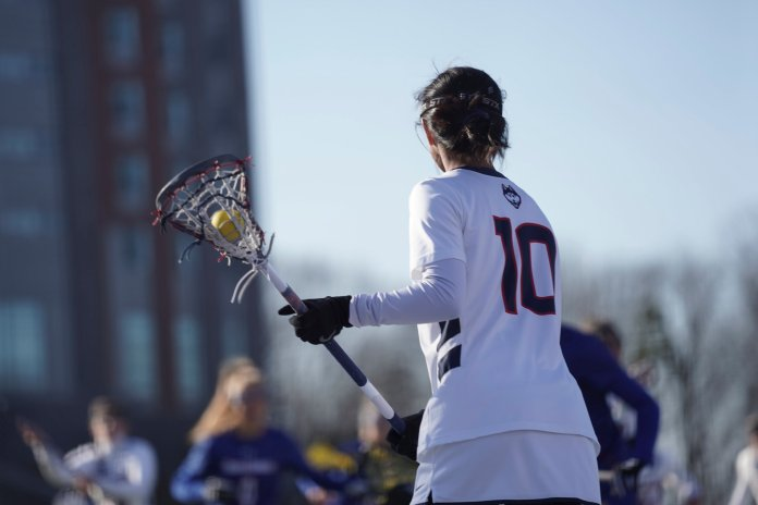The UConn women's lacrosse team beat UMass Lowell 20-14 on Feb. 23. Wednesday, the Huskies took down Columbia 14-7 on top of a five-goal performance from Lia Laprise.  Photo by Margaret Chafouleas/The Daily Campus
