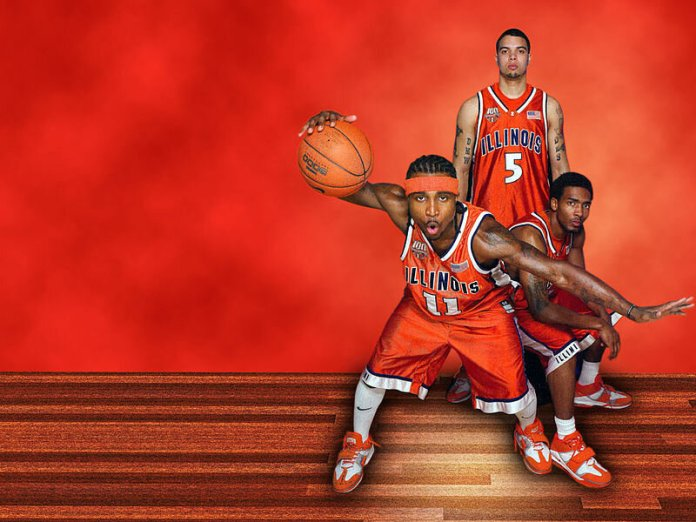 A promotional image from the 2004-05Fighting Illini men's basketball season featuring Dee Brown, Luther Head, and Deron Williams.  Photo in the    public domain