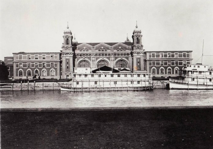 A ferry in the harbor at Ellis Island. Campus Correspondent Kate Luongo recommends taking a virtual tour of the historical site create by Heritage Documentation Programs.  Photo courtesy of the National Archives via National Parks Services